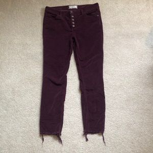 Free People Burgundy Cords with Distressed bottoms